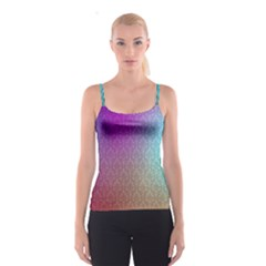 Blue And Pink Colors On A Pattern Spaghetti Strap Top