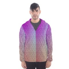 Blue And Pink Colors On A Pattern Hooded Wind Breaker (men)