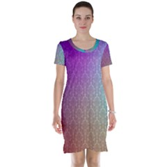 Blue And Pink Colors On A Pattern Short Sleeve Nightdress