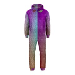 Blue And Pink Colors On A Pattern Hooded Jumpsuit (kids)