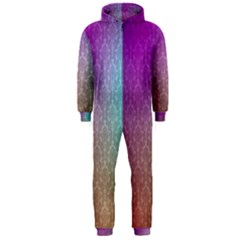 Blue And Pink Colors On A Pattern Hooded Jumpsuit (men)