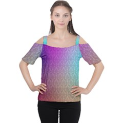 Blue And Pink Colors On A Pattern Women s Cutout Shoulder Tee