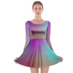 Blue And Pink Colors On A Pattern Long Sleeve Skater Dress