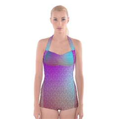 Blue And Pink Colors On A Pattern Boyleg Halter Swimsuit