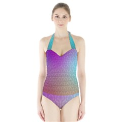 Blue And Pink Colors On A Pattern Halter Swimsuit