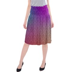 Blue And Pink Colors On A Pattern Midi Beach Skirt
