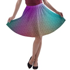 Blue And Pink Colors On A Pattern A Line Skater Skirt
