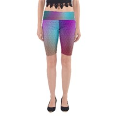 Blue And Pink Colors On A Pattern Yoga Cropped Leggings