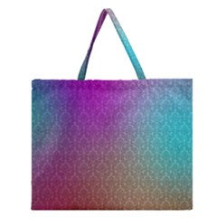 Blue And Pink Colors On A Pattern Zipper Large Tote Bag