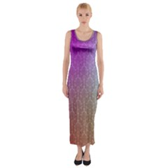 Blue And Pink Colors On A Pattern Fitted Maxi Dress
