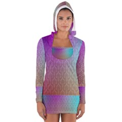 Blue And Pink Colors On A Pattern Women s Long Sleeve Hooded T Shirt