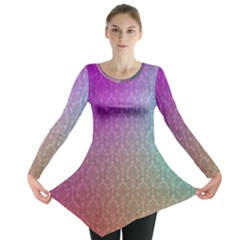 Blue And Pink Colors On A Pattern Long Sleeve Tunic