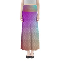 Blue And Pink Colors On A Pattern Maxi Skirts