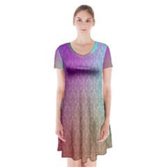 Blue And Pink Colors On A Pattern Short Sleeve V-neck Flare Dress