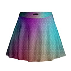 Blue And Pink Colors On A Pattern Mini Flare Skirt