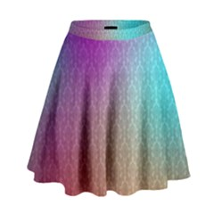 Blue And Pink Colors On A Pattern High Waist Skirt