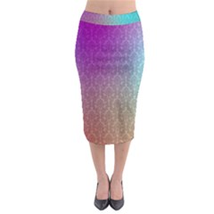 Blue And Pink Colors On A Pattern Midi Pencil Skirt
