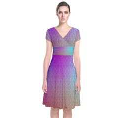 Blue And Pink Colors On A Pattern Short Sleeve Front Wrap Dress