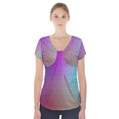 Blue And Pink Colors On A Pattern Short Sleeve Front Detail Top