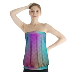 Blue And Pink Colors On A Pattern Strapless Top