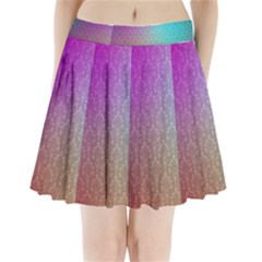 Blue And Pink Colors On A Pattern Pleated Mini Skirt