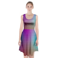Blue And Pink Colors On A Pattern Racerback Midi Dress