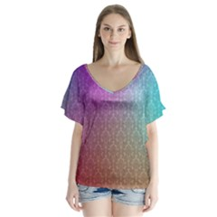 Blue And Pink Colors On A Pattern Flutter Sleeve Top