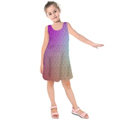 Blue And Pink Colors On A Pattern Kids  Sleeveless Dress
