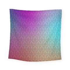 Blue And Pink Colors On A Pattern Square Tapestry (small)