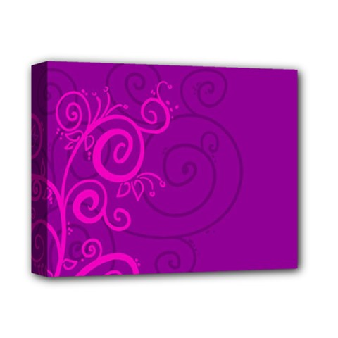 Floraly Swirlish Purple Color Deluxe Canvas 14  X 11