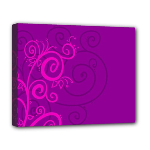 Floraly Swirlish Purple Color Deluxe Canvas 20  X 16
