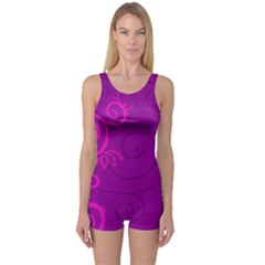 Floraly Swirlish Purple Color One Piece Boyleg Swimsuit