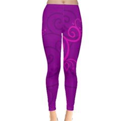 Floraly Swirlish Purple Color Leggings