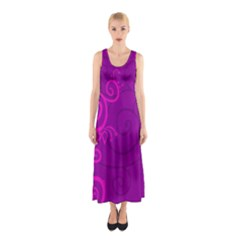Floraly Swirlish Purple Color Sleeveless Maxi Dress