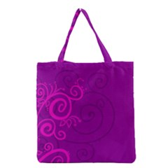 Floraly Swirlish Purple Color Grocery Tote Bag