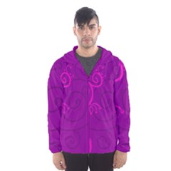 Floraly Swirlish Purple Color Hooded Wind Breaker (men)