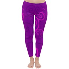 Floraly Swirlish Purple Color Classic Winter Leggings