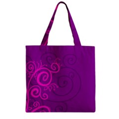 Floraly Swirlish Purple Color Zipper Grocery Tote Bag