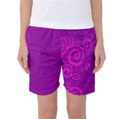 Floraly Swirlish Purple Color Women s Basketball Shorts