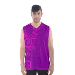 Floraly Swirlish Purple Color Men s Basketball Tank Top