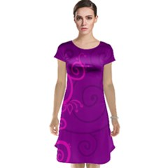 Floraly Swirlish Purple Color Cap Sleeve Nightdress