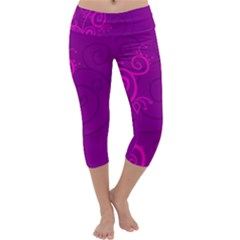 Floraly Swirlish Purple Color Capri Yoga Leggings