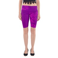 Floraly Swirlish Purple Color Yoga Cropped Leggings
