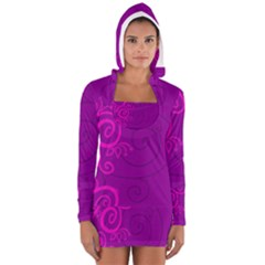 Floraly Swirlish Purple Color Women s Long Sleeve Hooded T-shirt