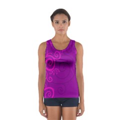 Floraly Swirlish Purple Color Women s Sport Tank Top