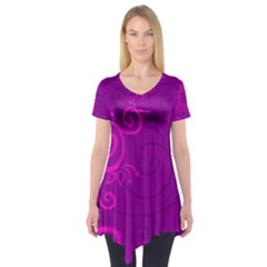Floraly Swirlish Purple Color Short Sleeve Tunic