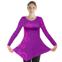 Floraly Swirlish Purple Color Long Sleeve Tunic