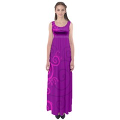 Floraly Swirlish Purple Color Empire Waist Maxi Dress