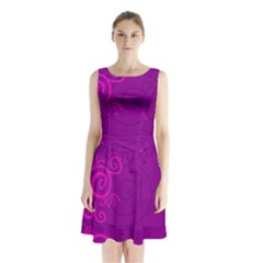 Floraly Swirlish Purple Color Sleeveless Chiffon Waist Tie Dress
