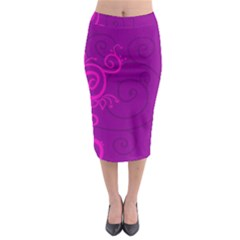 Floraly Swirlish Purple Color Midi Pencil Skirt